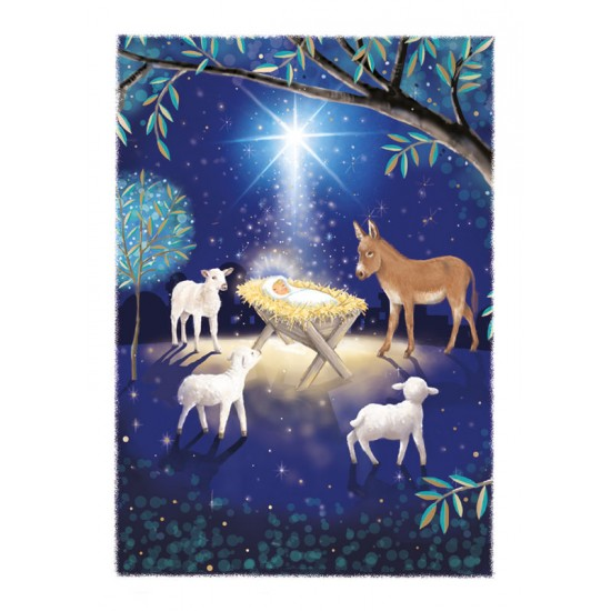 Baby Jesus Lamb & Donkey Religious Luxury Foil Art Xmas BHF Charity Christmas Pack (5 Cards,1 Design)