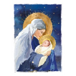 Madonna & Child Religious Art Luxury Foil Art Xmas BHF Charity Christmas Pack (5 Cards,1 Design)