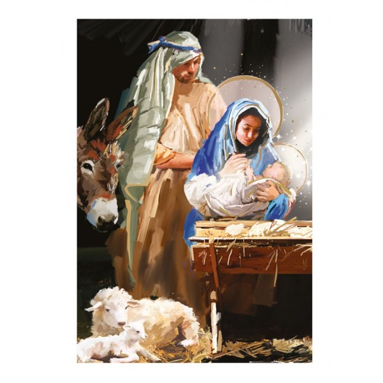 Around the Manger Holy Birth Religious Art Luxury Foil Art Christmas BHF Charity Xmas Pack (5 Cards,1 Design)