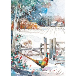 Snowy Countryside at Christmas Box Assortment of 24 Xmas & New Year Cards New for 2020 by Ling Design