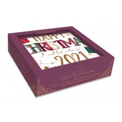 Happy Christmas & Best Wishes for 2021 Box of 5 Luxury Foil Glitter Hand Finished Xmas Cards by Talking Pictures