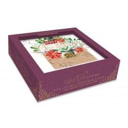 Happy Christmas 25th December Box of 5 Luxury Foil Glitter Hand Finished Xmas Cards by Talking Pictures