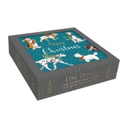 Festive Dogs in Scarfs at Christmas - Box of 10 Luxury Foil Art Finish Xmas Cards by Ling Design