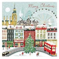 London Urban Landscape at Christmas Box of 10 Luxury Foil Art Finish Xmas Cards by Ling Design