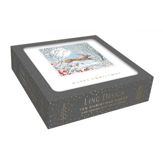 Hare in the Woods Christmas Box of 10 Luxury Foil Art Finish Xmas Cards by Ling Design