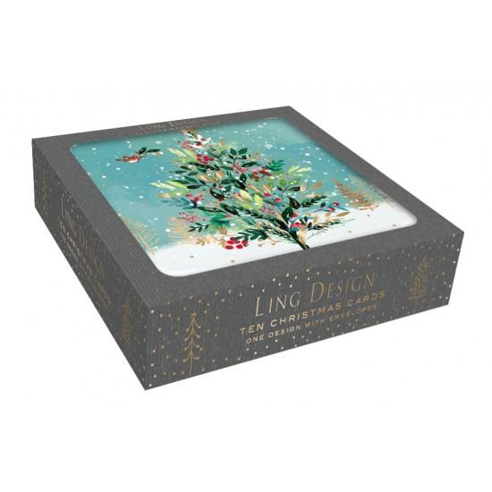 Woodland Festive Tree Christmas Box of 10 Luxury Foil Art Finish Xmas Cards by Ling Design