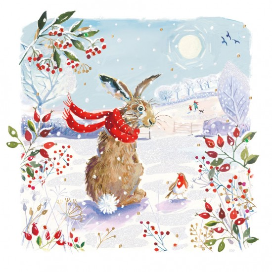 Forest Hare & Robin Embellished Box of 5 Luxury Art Glitter Christmas Cards by Ling Design