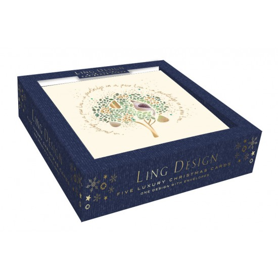 A Partridge in a Pear Tree Embellished Box of 5 Luxury Art Glitter Christmas Cards by Ling Design