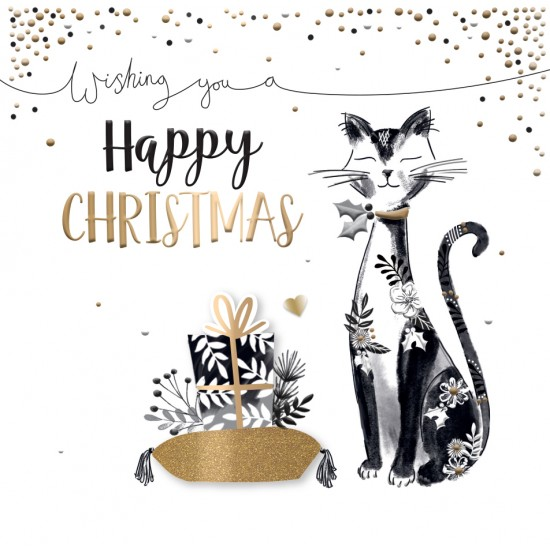 Happy Christmas Cat Luxury Handmade 3D Greeting Card By Talking Pictures