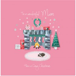 Wonderful Mum Cosy Christmas Fireplace Cat Luxury Handmade 3D Greeting Card By Talking Pictures