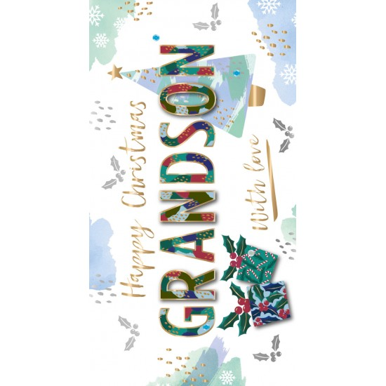 Happy Christmas Grandson with Love Luxury Handmade 3D Greeting Card By Talking Pictures