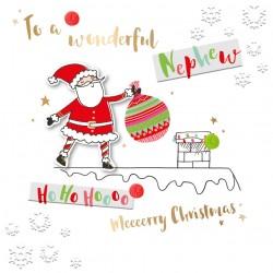 Wonderful Nephew Merry Christmas Santa Luxury Handmade 3D Greeting Card By Talking Pictures