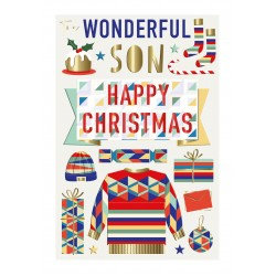Wonderful Son Happy Christmas & New Year Luxury Handmade 3D Greeting Card By Talking Pictures