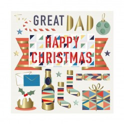 Great Dad Happy Christmas Luxury Handmade 3D Greeting Card By Talking Pictures