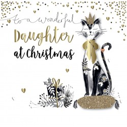 Wonderful Daughter at Christmas Cat Luxury Handmade 3D Greeting Card By Talking Pictures