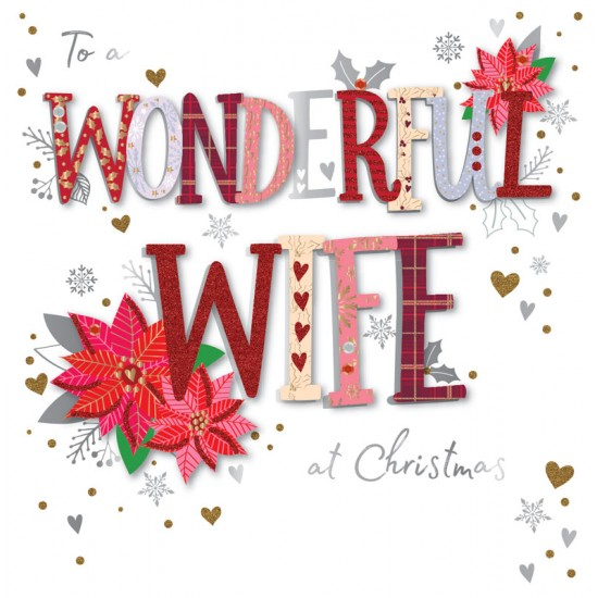 To a Wonderful Wife at Christmas Large Luxury Handmade 3D Greeting Card By Talking Pictures