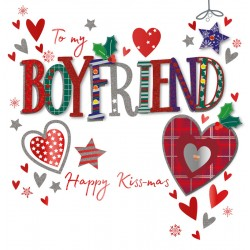 To my Boyfriend Happy Kiss-mas Large Luxury Handmade 3D Christmas Greeting Card By Talking Pictures