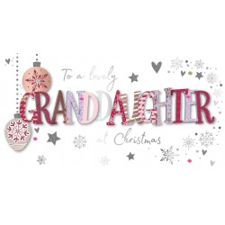 To a Lovely Granddaughter at Christmas Luxury Handmade 3D Greeting Card By Talking Pictures