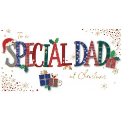 Special Dad at Christmas Luxury Handmade 3D Greeting Card By Talking Pictures