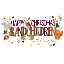 Happy Christmas Grandchildren Woodland Animals Luxury Handmade 3D Greeting Card By Talking Pictures