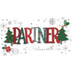 To My Partner at Christmas with Love Luxury Handmade 3D Greeting Card By Talking Pictures