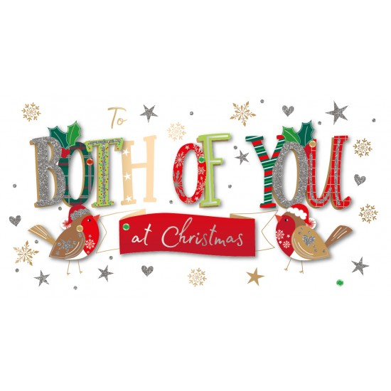 To Both of You at Christmas Robins Luxury Handmade 3D Greeting Card By Talking Pictures