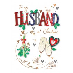 To My Husband at Christmas Mistletoe Bubbly Luxury Handmade 3D Greeting Card By Talking Pictures