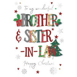 Brother & Sister-in-Law Happy Christmas Luxury Handmade 3D Greeting Card By Talking Pictures
