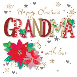 Happy Christmas Grandma with Love Luxury Handmade 3D Greeting Card By Talking Pictures