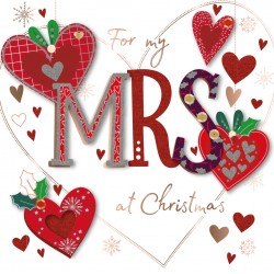 For My Mrs at Christmas Luxury Handmade 3D Greeting Card for Wife Partner By Talking Pictures