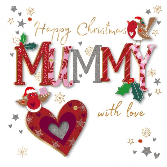 Happy Christmas Mummy with Love Luxury Handmade 3D Greeting Card By Talking Pictures