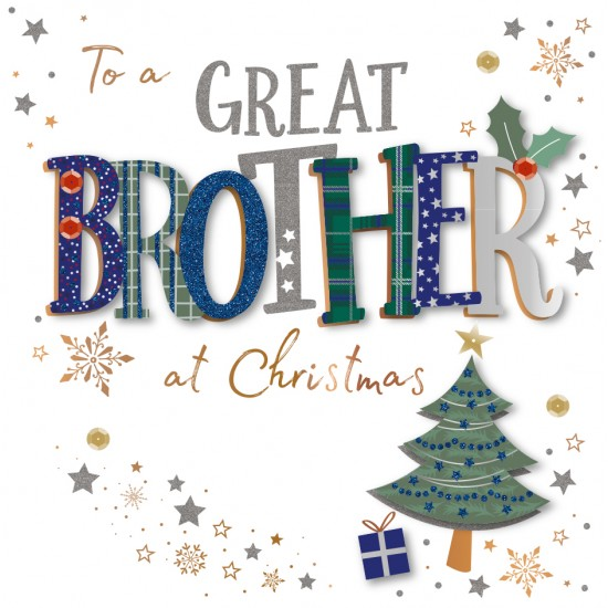 Great Brother at Christmas Luxury Handmade 3D Greeting Card By Talking Pictures