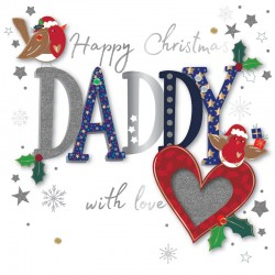 Happy Christmas Daddy with Love Luxury Handmade 3D Greeting Card By Talking Pictures