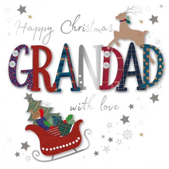 Happy Christmas Grandad with Love Luxury Handmade 3D Greeting Card By Talking Pictures