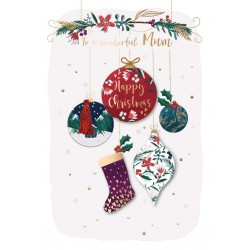 Wonderful Mum Happy Christmas Luxury Handmade 3D Baubles Greeting Card By Talking Pictures
