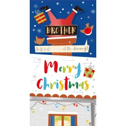 Brother Merry Happy Christmas Santa Chimney Luxury Handmade Moveable Tag Greeting Card By Talking Pictures