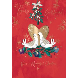 Lovely Girlfriend Mistletoe Turtle Doves Christmas Luxury Handmade 3D Greeting Card By Talking Pictures