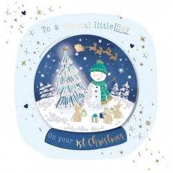 Special Little Boy on your 1st Christmas Luxury Handmade 3D Snowman Snow Globe Greeting Card By Talking Pictures