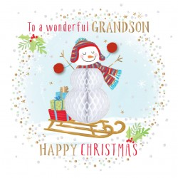 Wonderful Grandson Happy Christmas  Luxury Handmade 3D Honeycomb Snowman Greeting Card By Talking Pictures