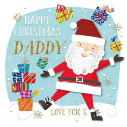 Happy Christmas Daddy Santa Gifts Luxury Handmade 3D Greeting Card By Talking Pictures