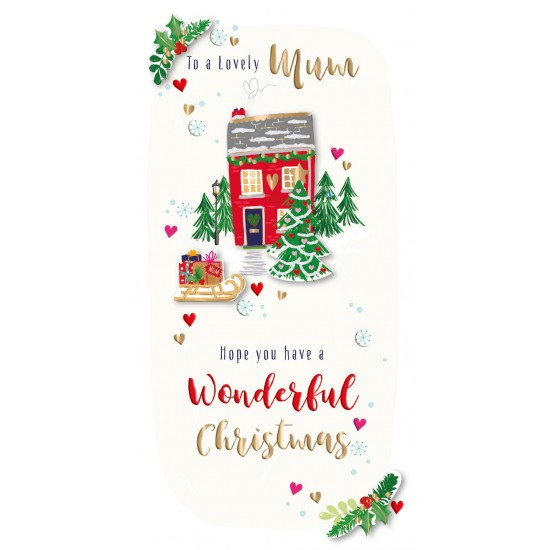 Lovely Mum Christmas Cosy Home Luxury Handmade 3D Greeting Card By Talking Pictures
