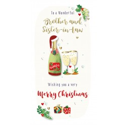 Brother & Sister-in-Law Merry Christmas Bubbly Luxury Handmade 3D Greeting Card By Talking Pictures