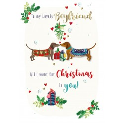 My Lovely Boyfriend Happy Christmas Dachshunds Luxury Handmade 3D Greeting Card By Talking Pictures