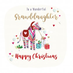 Wonderful Granddaughter Happy Christmas Zebra Luxury Handmade 3D Greeting Card By Talking Pictures