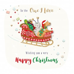 To the One I Love Happy Christmas Dog & Cat in Sleigh Luxury Handmade 3D Greeting Card By Talking Pictures