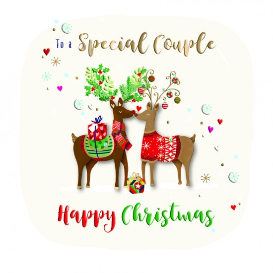 To a Special Couple Happy Christmas Reindeer Luxury Handmade 3D Greeting Card By Talking Pictures