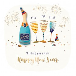 Happy New Year Bubbly Fizz Pop Clink Luxury Handmade 3D Greeting Card By Talking Pictures