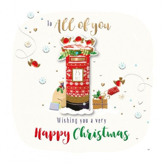 To All of You Happy Christmas Red Post Box Luxury Handmade 3D Greeting Card By Talking Pictures