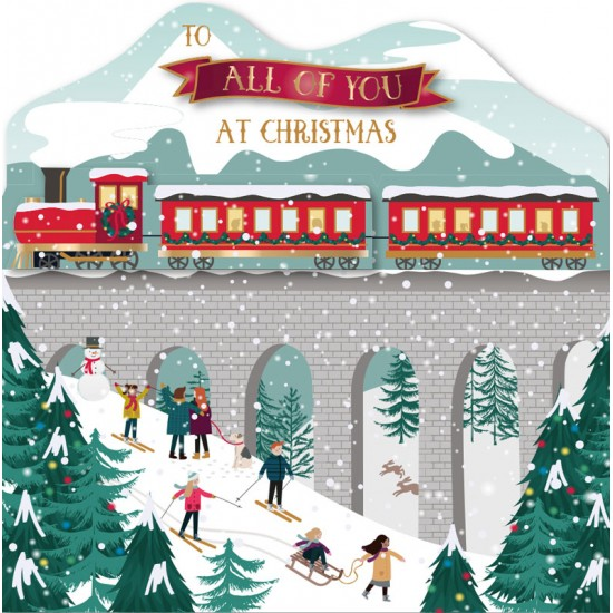 To All of You At Christmas Train Family Scene Luxury Handmade 3D Greeting Card By Talking Pictures