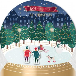To Both Of You At Christmas Ice Skating SnowGlobe Scene Luxury Handmade 3D Greeting Card By Talking Pictures